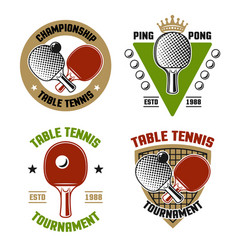 Ping pong or table tennis set four vector