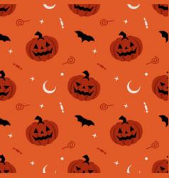 pumpkin seamless pattern halloween background vector image