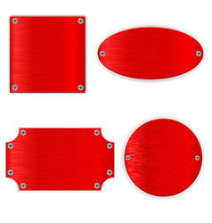 Red metal shields shiny blank signs vector
