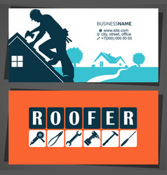 Roofer with tool on robusiness card vector