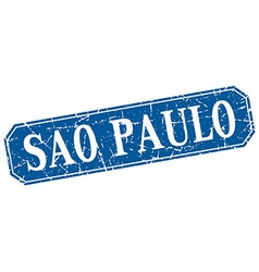 Sao paulo blue square grunge retro style sign vector