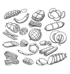 Sausages sketch set vector