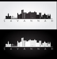 Savannah usa skyline and landmarks silhouette vector
