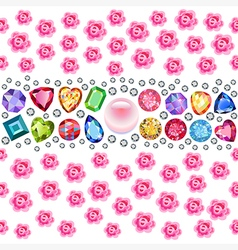 Seamless scattered gems and roses vector