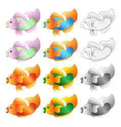 Set fishes isolated on white background vector