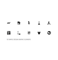 Set of 10 editable cleaning icons includes vector