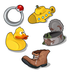 Set of childrens toys and old things vector