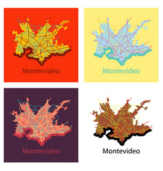 Set of montevideo flat map outline version ready vector