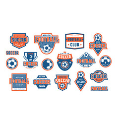 Set of template emblem for soccer team vector