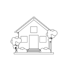 silhouette house with two floors vector image