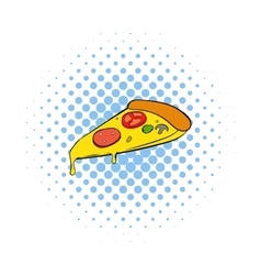 Slice of pizza icon comics style vector image