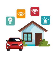Smart home technology set icons vector