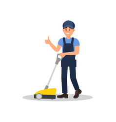 smiling man cleaning floor with scrubber machine vector image