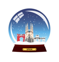 Snow globe city spain sagrada familia winter vector