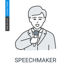 Speaker in suit and with microphone icon vector
