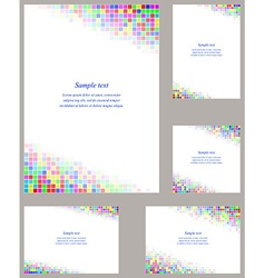 Square mosaic page corner design template set vector