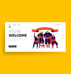 super family landing page template characters vector image