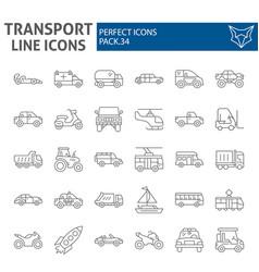 transport thin line icon set vehicle symbols vector image