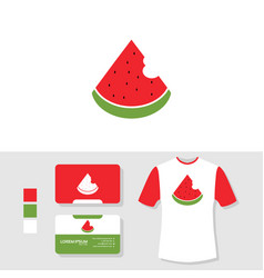 watermelon logo design with business card and t vector image