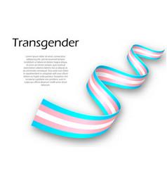 Waving ribbon or banner with transgender pride vector