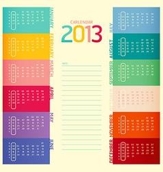 2013 calendar modern soft color vector image vector image