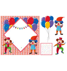 border template with happy and sad clowns vector image