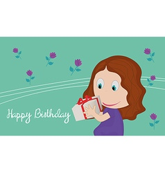 Card with little girl with a gift in their hands vector image