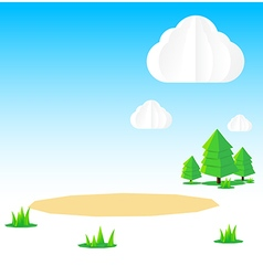 Nature background Cloud sky field tree origami and vector image vector image