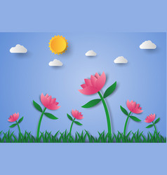 pink flower field with grass and sky paper art vector image vector image