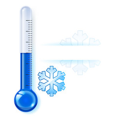 thermometer by seasons winter on white vector image