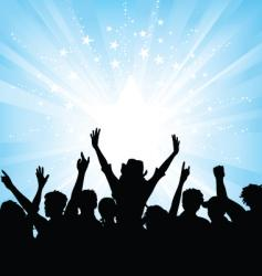 crowd on starburst background vector image vector image