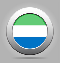 flag of sierra leone metal gray round button vector image