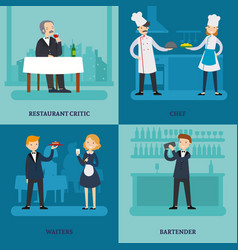 people in restaurant square concept vector image vector image