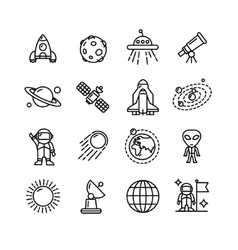 Spase Outline Black and White Icons Set vector image