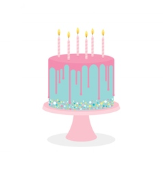 Birthday cake with frosting and burning candles vector image