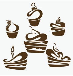 cakes and sweets vector image vector image