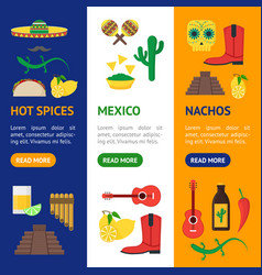 cartoon mexican culture color banner vecrtical set vector image vector image