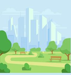 cartoon public city park with skyscrapers vector image vector image