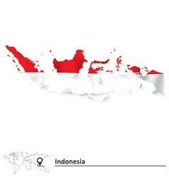 Map of Indonesia with flag vector image