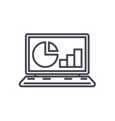 online statistics data analytics line icon vector image