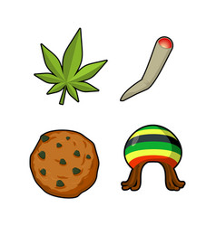 rasta icons set green leaf of marijuana and vector image