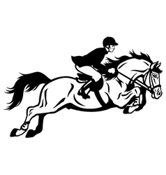 Rider show jumping vector