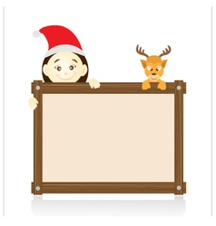Santa claus and reindeer holding wood board on vector image vector image