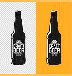 textured craft beer bottle label design vector image