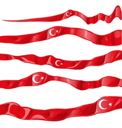 turkey flag collaction horizontal on white vector image vector image