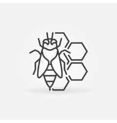 Bee and honeycomb concept icon vector image