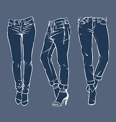 Hand drawn fashion design mens jeans vector image