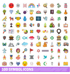 100 symbol icons set cartoon style vector image