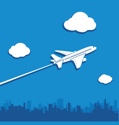 Aircraft flies in sky above city vector