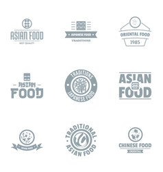 asian fastfood logo set simple style vector image